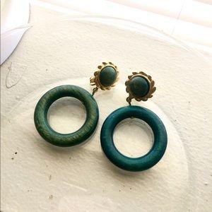 Emerald Green Hoop Clip Ons